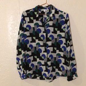 & other stories geometric print 100% silk blouse